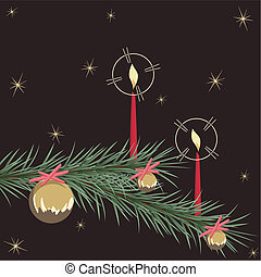 ornamento, retro, cartão, natal