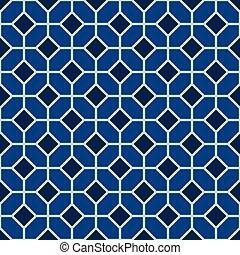 ornamento, seamless, azul, clásico, morisco
