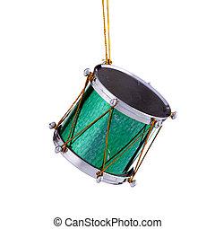 ornamento, tambor, verde, natal