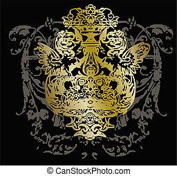 ornamento, tribal, emblema, desenho