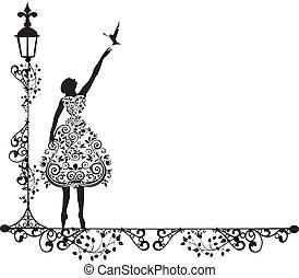 ornamento, vector, mujer, con, pájaro