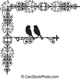 ornamento, vectors, amor, dois, pássaro