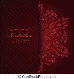 ornamento, vermelho, convite