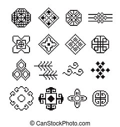 ornamento, vettore, set, pixel, cinese