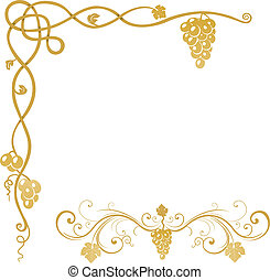 ornamento, vid, uva