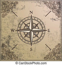 ornamentos, compasso, borda, fundo, vindima