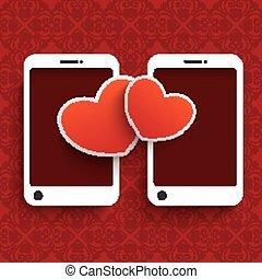 ornamentos, corações, valentinsday, branco vermelho
