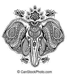 ornamentos, elefante, ilustración, tribal, indio, vendimia