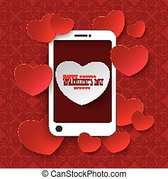 ornamentos, móvel, valentinesday, corações, branco vermelho