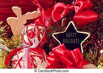 ornamentos natal, e, a, texto, feliz, feriados