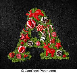 ornamentos, natal, feito, letra, árvore