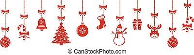 ornamentos, natal, fundo, penduradas