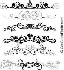 ornamentos, negro, conjunto