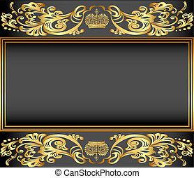 ornamentos, oro, plano de fondo, marco, vendimia, corona