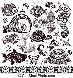 ornamentos, pez, flores, conjunto, vector