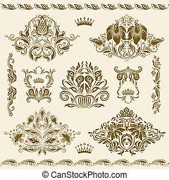 ornaments., ベクトル, セット, ダマスク織