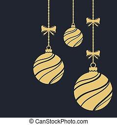 ornaments., gelul, kerstmis, decorations.