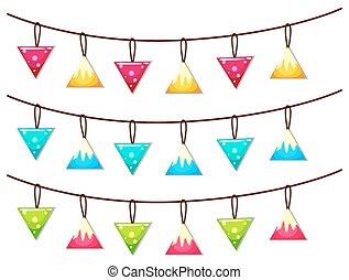 Ornaments hanging on line illustration