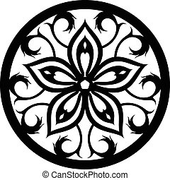 Ornaments Mandala Wall Silhouette - illustration of great...