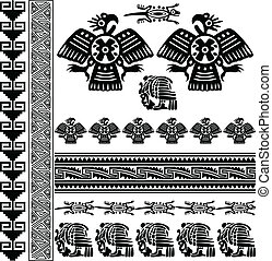 Ornaments of Ancient America with eagle
