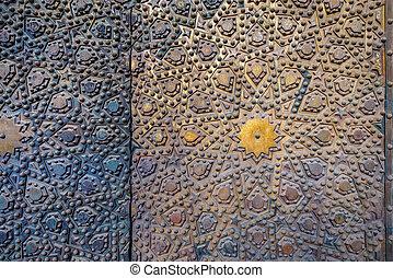 Ornaments of the bronze-plate door at Al Sultan Hasan Mosque, historic public mosque, Cairo, Egypt