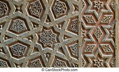Ornaments of the bronze-plate door of Sultan Qalawun mosque, Old Cairo, Egypt