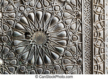 Ornaments of the bronze-plate ornate door, Cairo, Egypt