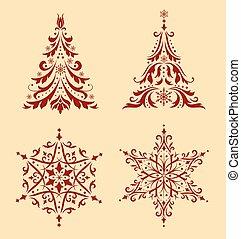 ornaments., set, kerstmis