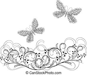 ornaments Vector of butterflies