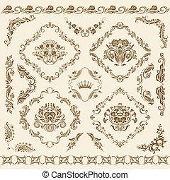 ornaments., vetorial, jogo, damasco
