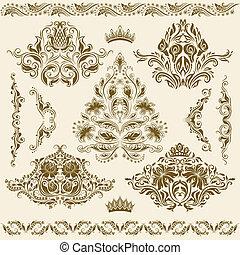 ornaments., wektor, komplet, adamaszek