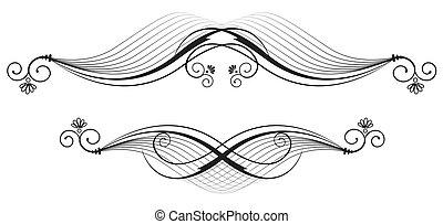 ornare, elementi floreali, .vector, white.vegnette