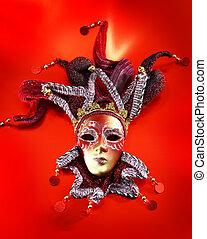 ornare, maschera carnevale, sopra, rosso, fondo.