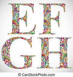 Ornate alphabet letters E F G H.