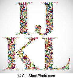 Ornate alphabet letters I J K L.