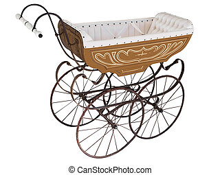 Ornate Antique Pram isolated with clipping path
