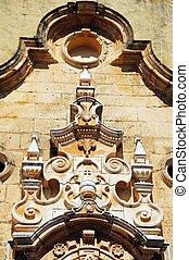 Ornate architecture on church.