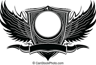 Ornate Wings and Badge Vector Illustration Template