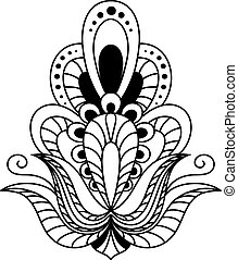 Ornate calligraphic black and white vintage floral design element in vintage persian style