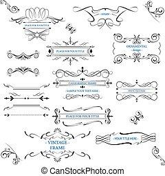 ornate, bordas, com, decorativo, linha
