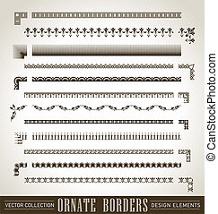 ornate borders set (vector) - set of ornate borders with...