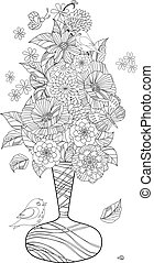 ornate bouquet of flowers in graceful vase for your coloring...