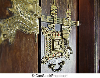 Ornate brass door furniture