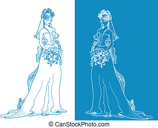 Ornate Bride  Silhouette hand drawing with bow