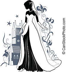 Ornate Bride Silhouette on floral background and gothic...