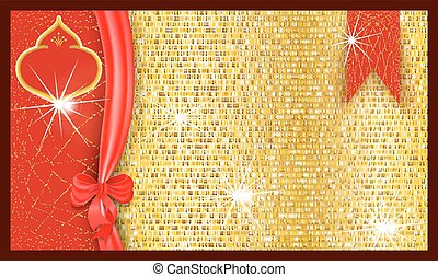 Ornate bright festive gift voucher with a golden textured background and ribbon with a bow.