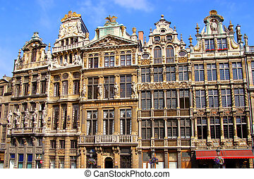 Grand Place, Brussels - Ornate buildings of Grand Place,...