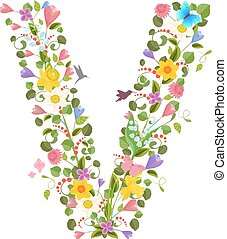 ornate capital letter font consisting of the spring flowers...