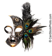 Ornate carnival mask isolated on white background.