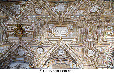 Ornate Ceiling of Saint Peters Basilica in the Vatican City